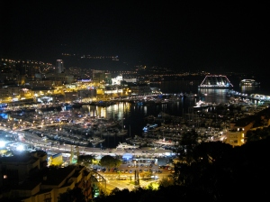 Wind Surf, lit up in the Monaco harbour