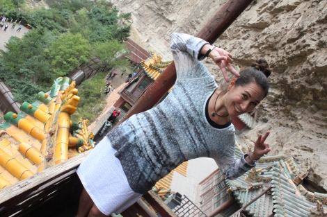 Johanna Read hamming it up at the Hanging Temple, Shanxi, China; photo  by Hilary Duff