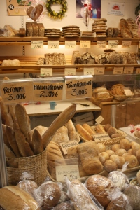 Bread display in Helsinki's Market Hall. Photo by Jennifer Billock.
