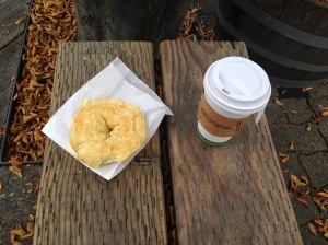 Bagel and coffee from the Granville Island Public Market; photo by Stella Gold