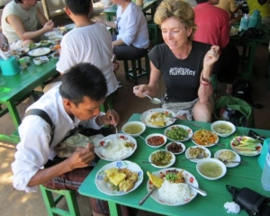 Eating at a roadside restaurant in Burma; photo courtesy of Gabrielle Yetter