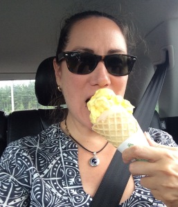 TravelEater enjoying her lemon pie, this time in ice cream form