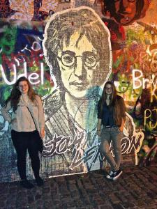 I studied abroad last summer in Prague, Czech Republic. My roommate, a student at Charles University, showed me around the city, including the John Lennon Wall. Photo via Danielle Corcione.
