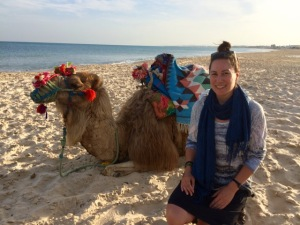 Me on the beach in Hammamet, with a dromedary (camels have 2 humps!). Photo by the nice owner of the dromedary.