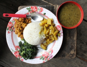 A plate of dal bhat in Gatlang, Nepal; photo by Hilary Duff