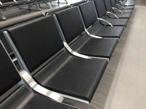 Rare seats without arm rests so you can sleep Mexico City airport Johanna Read TravelEater.net