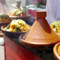 Tagine kept warm on the grill. Low-res photo by Johanna Read TravelEater.net