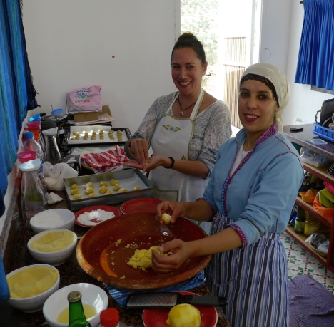 The author and Hajiba at the Dar Zerhoune baking class. Low-res photo by Rose Button