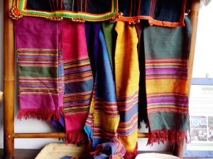 Scarves on display at Ma Te Sai, a fabulous shop that supports local artisans in Luang Prabang and Vientiene, Laos