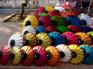 Parasols for sale, street market, Luang Prabang, Laos