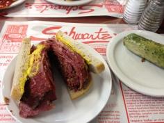Schwartzs smoked meat sandwich