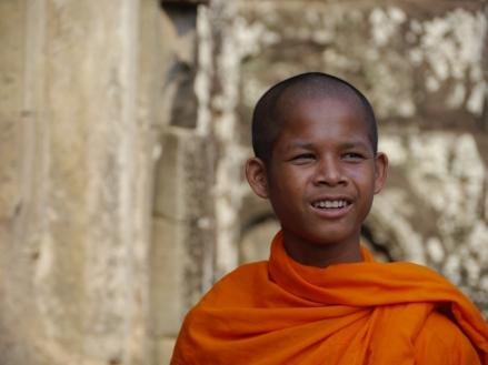 Novice monk at Bayon temple. Photo by Johanna Read TravelEater.net
